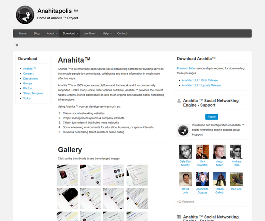 Anahita Social Networking Engine site screenshot